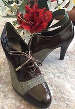 New Anne Klein Brown Patent Leather Plaid Lace Up Heels Booties Shoes Size 7.5