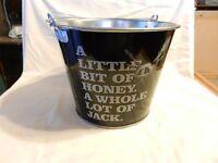 Jack Daniel's Tennessee Honey Whisky Galvanized Metal Ice Bucket with handle