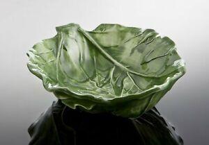 BASSANO Salat Beistellschale grün Blattform Relief italienische Keramik 20x18