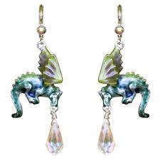 Kirks Folly  Dragon Glass Leverback Earrings  sterling silvertone