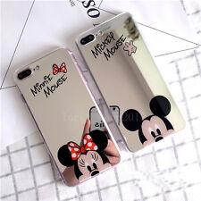 Espejo Lindo dibujo animado Minnie Mickey Mouse Blando Estuche Cubierta para iPhone 6 6S 7 Plus