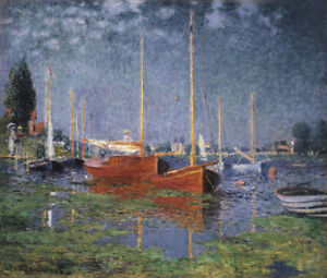 Full Drill Diamond Painting Kit Claude Monet Red Boats At Argenteuil 1872