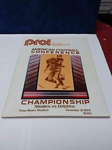 1972 AFC CHAMPIONSHIP GAME PROGRAM-DOLPHINS vs STEELERS-THREE RIVERS Ex Cond