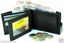 MENS RFID BLOCKING REAL LEATHER WALLET CREDIT CARD HOLDER PURSE POUCH 340-BLACK