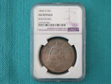 1860 O SEATED LIBERTY DOLLAR $1 US SILVER DOLLAR NGC AU DETAILS US SILVER COIN