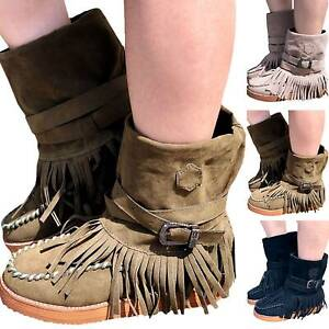 Womens Lady Tassel Flat Slip On Ankle Boots Winter Round Toe Buckle Bootie Shoes
