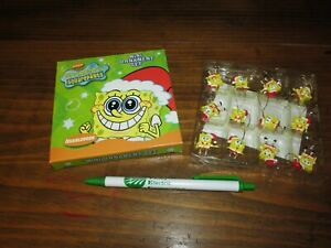 SPONGEBOB SQUAREPANTS SILLY FACES 12-PACK CHRISTMAS HOLIDAY MINI ORNAMENT SET.