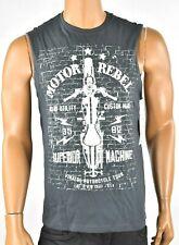 Retrofit Mens Gray Tank top T-Shirt New S Motor Rebel Vintage Sleeve less Casual