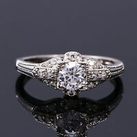 Vintage 925 Silver Round Created Moissanite Simple Design Wedding Ring !!