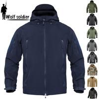 Windbreaker Mens Soft Shell Jacket Tactical Winter Waterproof Fleece Coat Hooded