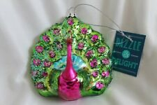 Dazzle & Delight Peacock Christmas Ornament Kohl's Glitter Green Blue Pink nwt