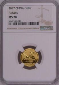 NGC MS70 2017 China Panda 3g Gold Coin