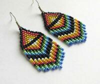 Fringe Beaded Earrings Seed Bead earrings rainbow earrings handmade jewelry