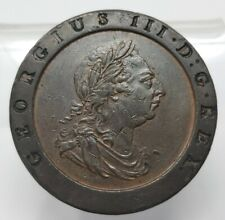 Great Britain 1797 2 Pence Large Copper Coin: George III~ Beautiful Detail!!