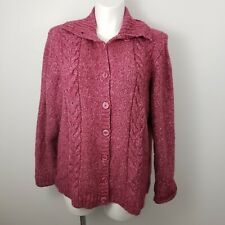 LL Bean womens Sz 2xl button up Cardigan Sweater pink wool cable knit warm comfy