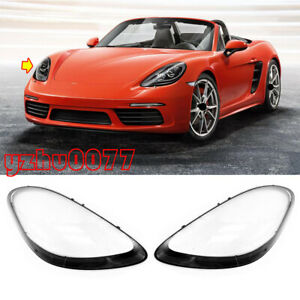 2017-2020 For Porsche 718 Boxster Cayman Headlamp Lens Cover Left & Right 2pcs