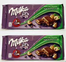 2 Bars Milka Alpine Milk Chocolate with Hazelnuts 2x100g