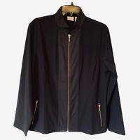 Zenergy Chicos Womens Jacket Black Zip Up Stretch Mandarin Pockets L/12 NWOT