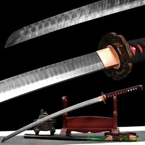 Full Tang Ladder Pattern Damascus Steel Blade Sharp Japanese Sword Katana #2806