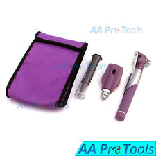 Purple Fiber-Optic Otoscope Ophthalmoscope Adjustable Diagnostic ENT Set