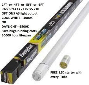 Energizer LED Fluorescent Replacement Tube 2FT 4FT 5FT  Coolwhite or Daylight