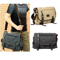 Casual Men's Canvas Leather Crossbody Bag Satchel Shoulder Messenger School Bags
