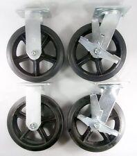"8"" x 2"" Rubber On Cast Iron Caster - Rigid (2EA) & Swivel with Brake (2EA)"