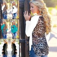 Cotton Blend Leopard Casual Tops & Shirts for Women