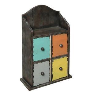 Drawers Shelf, Wall Shelf, Small Hanging Shelf IN Cargo Design, Shabby Colourful