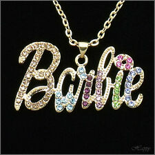Barbie Doll Pendant Necklace Charm Chain Costume Jewelry Crystal Multicolor Gift