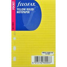 Filofax taille de poche Jaune à lignes à NOTE PAPIER ORGANISEUR Recharge ENCART