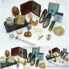 Job Lot Antique Vintage Collectables Chinese Box Daguerreotype Netsuke Sewing