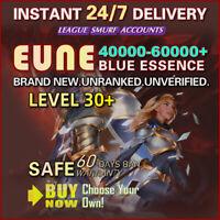 EUNE League of Legends Account LOL Smurf 40K 50K 60K BE Unranked LEVEL 30 IP PC