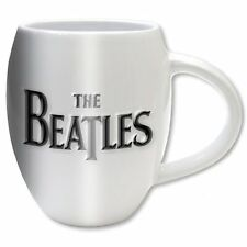 Official The Beatles - Drop T & Apple - Embossed White Ceramic Oval Mug