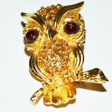 """Eyes 1.75"""" Brooch Pendant Gold Toned Owl Amber"""