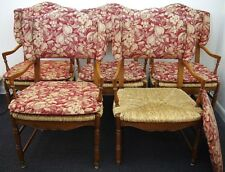 5 Baker Furniture Country French Provincial Rush Seat Upholstered Dining Chairs