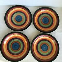 "Set of 4 Philippe Richard RONDO 7.25"" Salad Plates Orange Burgundy Green VGC"