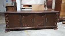 Carved Antique German Walnut Sideboard Cabinet With Claw Feet