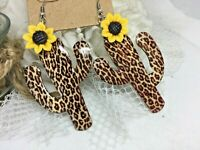Hand Painted Leopard Sunflower Turquoise Western Southwest earrings cowgirl