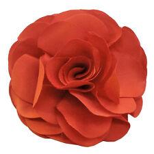 Pince à cheveux bibi broche grande fleur en tissu orange sixties uni