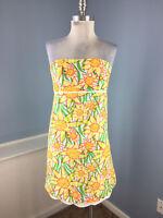Lilly Pulitzer XS 0 2 Floral Strapless dress Scallop Hem EUC