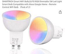 A PAIR of 5W Smart Wifi LED Bulb GU10 Spotlight Dimmable Work with Alexa/Google