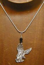 d84d6db016ed Pendientes de plata esterlina de alambre arrollado Eagle Con Ónix Piedra  Preciosa Colgante Collar.. Hecho a Mano Usa