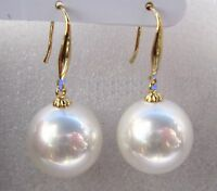 AAA 16mm Natural Australian South Sea White Shell Pearl Earring 14k Gold +Box