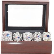 5pcs include 2017 New England Patriots Championship Ring Brady Set Wooden Box