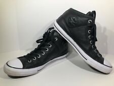 CONVERSE Chuck All Star Mens Sz 10.5 Black Leather High Top Sneaker Shoes F3-1