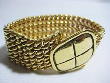 CHANEL GOLD PLATED BANGLE BRACELET VINTAGE CC COCO WIDE CHAIN AUTHENTIC FRANCE
