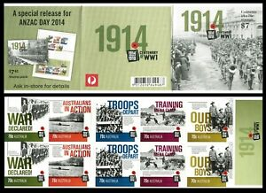 2014 Centenary of WWI $7.00 Booklet - Unfolded