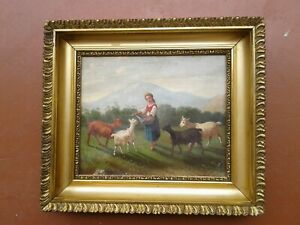 ANTIQUE OIL PAINTING ON CANVAS YOUNG GIRL FEEDING GOATS 1800'S FRAMED