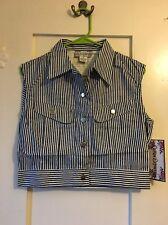 New Cotton Express Black White Vertical Striped Denim M Womens Shirt 90s Vest